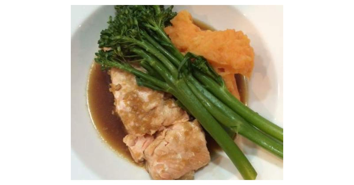 Salmon With Mash, Broccolini And Asian Inspired Sauce By -5189