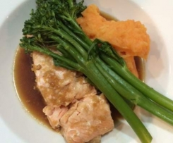 Salmon with mash, broccolini and asian inspired sauce