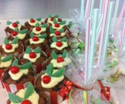 Xmas cupcake puddings and organic sherbet bags