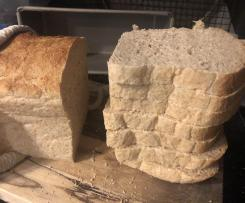 Light and high wholemeal bread, loaf or rolls