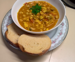Easy chicken and mushroom, chick pea ragout
