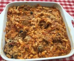 Chicken sausage & macaroni casserole