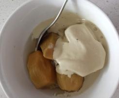 Poached feijoas with licorice ice cream
