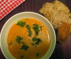 Spiced red lentil & chickpea soup