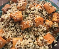 Vegan Brown Rice, Quinoa & Pumpkin Salad