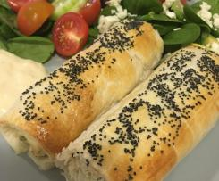 Naomi's Chicken and Ricotta Sausage Rolls with Lemon Mayonnaise