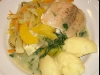 ALL IN ONE Steamed fish on orange fennel bed and mashed potatoes