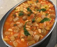 Italian sausage, eggplant and bean casserole