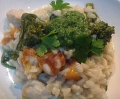 Chicken, Leek, pumpkin and broccoli Risotto