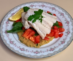 Steamed fish with cumin chickpea puree