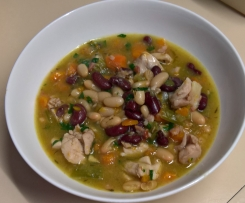 Chunky chicken and mixed bean soup low GI