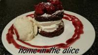 Raspberry brownie stack