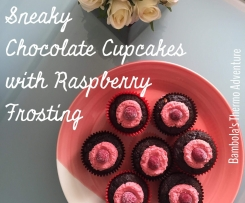 Sneaky Chocolate Cupcakes with Raspberry Frosting