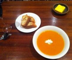 Spicy sweet potato soup with chilli coriander cream