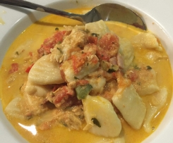 Ricotta Gnocchi with Chicken and Bacon in a Creamy Tomato Sauce