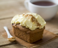 Spiced pumpkin mini-loaves with cream cheese frosting