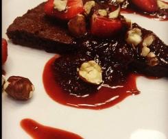 Chocolate Hazelnut Torte with Balsamic Strawberry Sauce