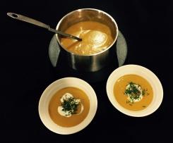 Curried pumpkin and sweet potato soup