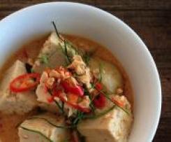 Peanut Curry of Tofu, Potato and Roasted Shallots