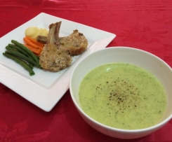 Crumbed Lamb Cutlets with Zucchini & Parmesan Soup