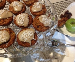 Spiced Apple muffins with caramel coconut icing