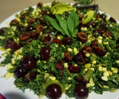 Kale & Cherry Salad with Mango Mint Dressing