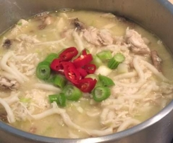 Chicken and Mushroom Udon Noodle Soup