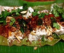 Steamed Thai Fish with Sticky Sauce and crunchy garnishes