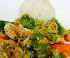Fragrant Coconut Rice, lemongrass ginger chicken and asian greens